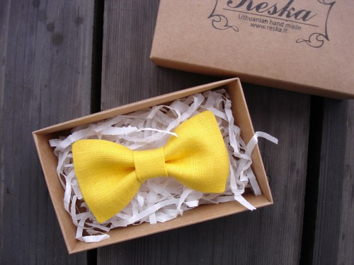 Bright yellow linen bow tie