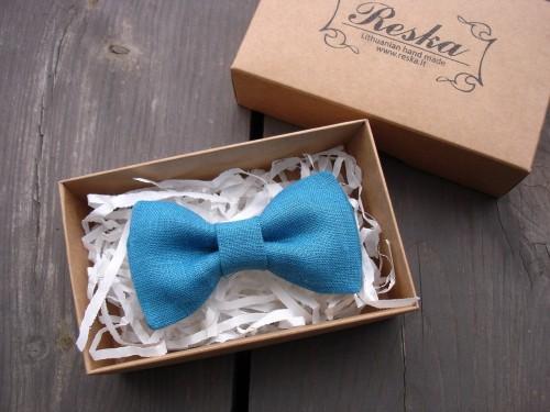 Blue linen bow tie