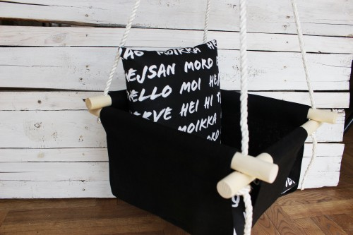 Baby Swing in black with pillow