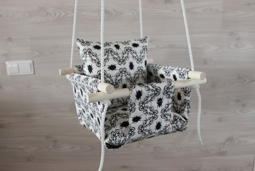 White linen swing with black beetle print