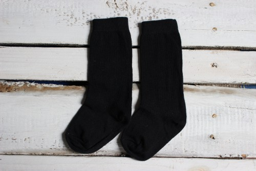 Black Kids Knee High Socks