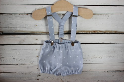 Cake Smash Outfit Baby Boy Shorts with suspenders, blue linen bloomers with braces, Ring Bearer boy suit, 1st birthday linen outfit