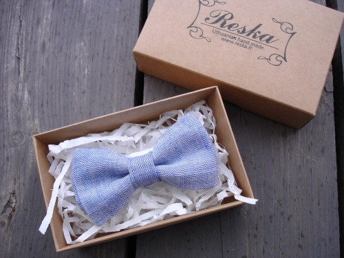 Denim blue bow tie