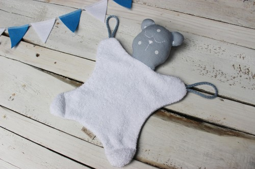 Gray blue bear lovey