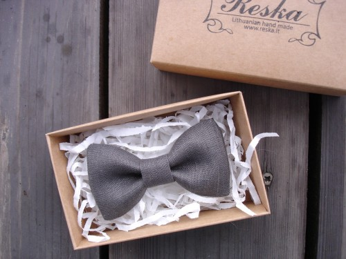 Gray brown bow tie