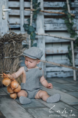 Gray striped Linen romper for newborn Cake Smash Outfit Baby Boy toddler romper baby girl outfit 1st birthday linen clothes babies romper