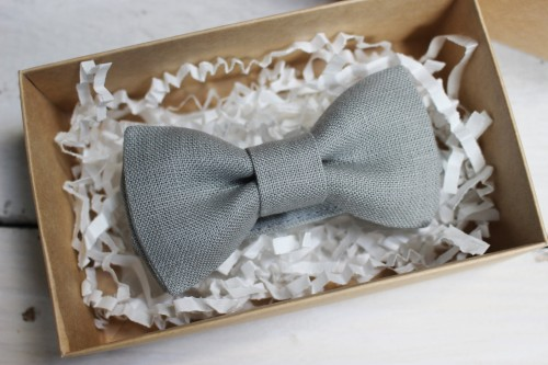 Gray linen Bow Tie for boys