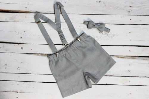 Gray Ring bearer outfit, grey Shorts with suspenders and bow tie, Wedding formal wear Boys trousers, Boys Summer clothing braces bow tie