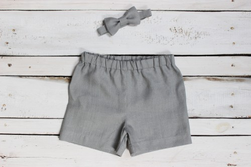 Gray linen Boys shorts with bow tie, Baby boy linen trousers Summer clothes, first birthday linen shorts with bow tie for toddler