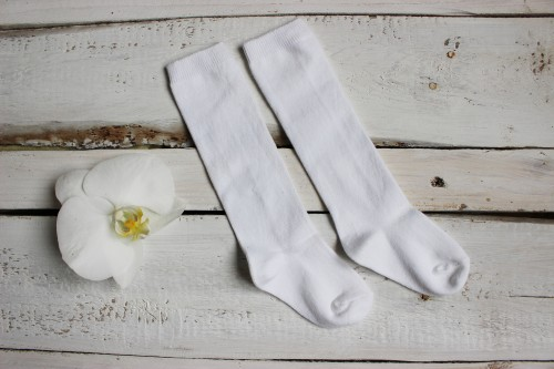 Kids Knee High white Socks
