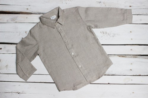 Linen shirt for boy, long sleeve shirt, shirt for boys 1st birthday, baby boy christening shirt, natural linen top for wedding party