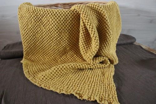 Linen Baby Blanket in Mustard colour