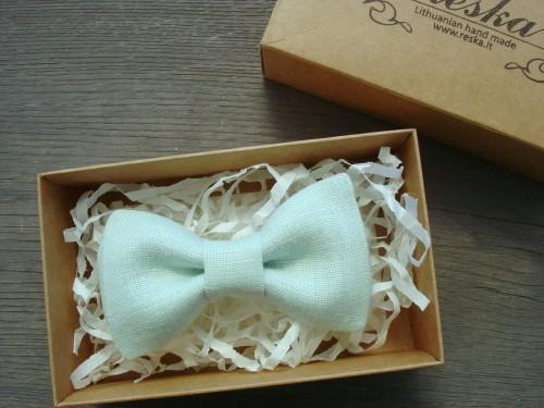 Mint linen bow tie