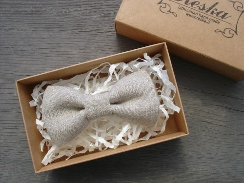 Natural linen bow tie