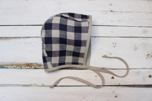 Navy blue linen checkered Bonnet