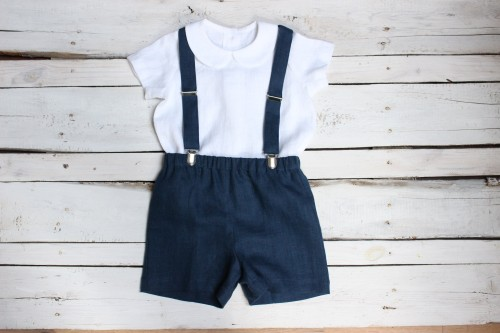 Navy blue boy suit Ring bearer outfit, Shorts with suspenders and white shirt with Peter Pan collar, navy blue linen shorts for 1st birthday