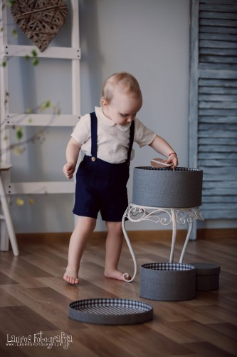Navy Blue Shorts with suspenders Boys linen pants with braces Stone washed linen shorts Boys trousers Summer clothes boys clothing