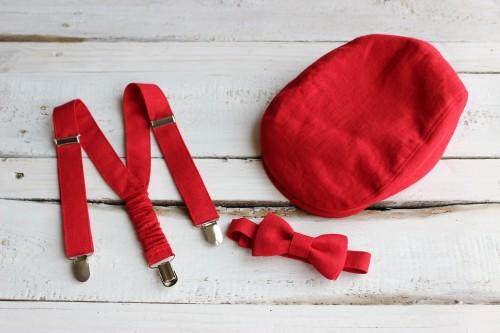 Newsboy flat cap, suspenders and bow tie set, baby boy 1st birthday braces, kids wedding ring bearer, red linen newsboy hat, boys flat cap