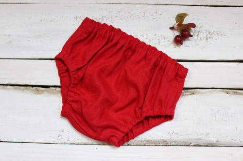 Red linen bloomers