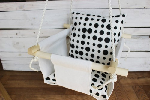 Swing for Baby with polka dot pillow
