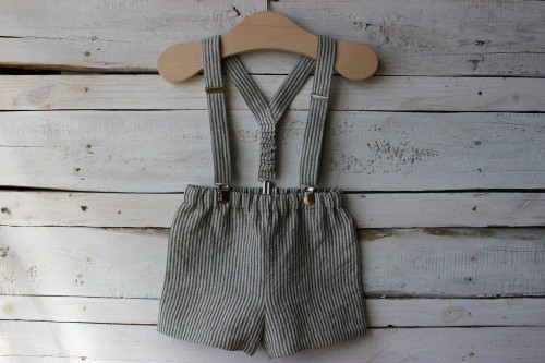 Shorts with braces for boy gray striped linen pants Stone washed linen short Trousers with suspenders Summer clothes bloomers for baby boys