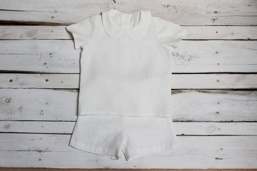 White shirt with Peter Pan collar and shorts, baptism outfit, Baby boy Shirt first Birthday Clothing, Photo prop christening linen suit