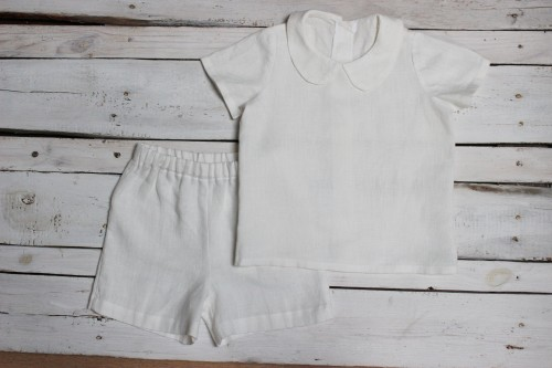White boy suit Ring bearer outfit, Shorts and white shirt with Peter Pan collar, white linen shorts for 1st birthday, christening or baptism