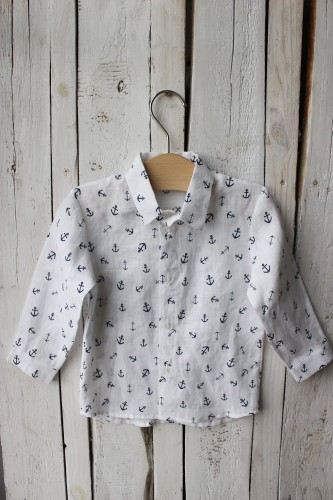 White linen shirt with anchors, long sleeve shirt for boy, 1st birthday boys outfit, white linen top for first christmas, navy blue anchors
